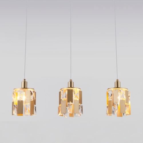 Подвесной светильник с хрусталем 50101/3 перламутровое золото
