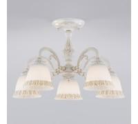 Потолочная люстра со стеклянными плафонами 60107/5 белый с золотом