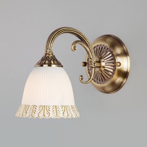 Бра со стеклянным плафоном 60107/1 античная бронза