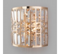 Настенный светильник с хрусталем 10116/2 золото/прозрачный хрусталь Strotskis