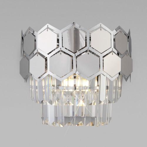 Настенный светильник с хрусталем 10113/2 хром/прозрачный хрусталь Strotskis