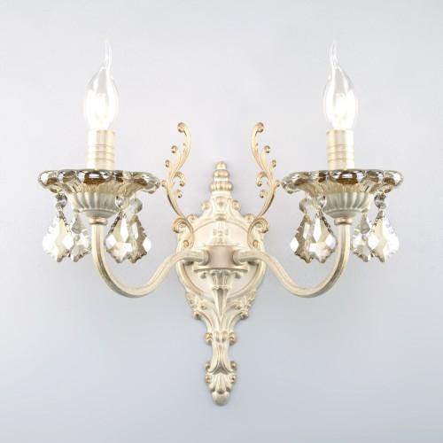 Бра с тонированным хрусталем 3281/2 белый с золотом / тонированный хрусталь