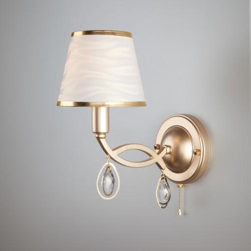 Настенный светильник с абажуром 60091/1 перламутровое золото