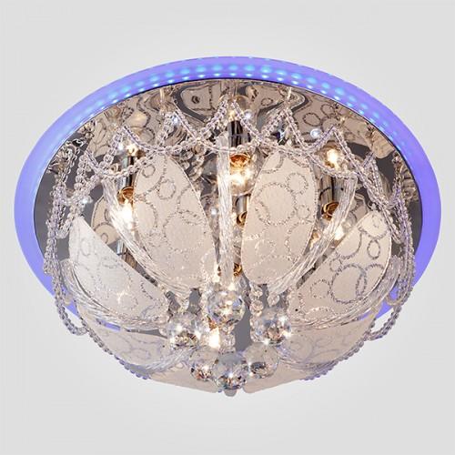 Люстра потолочная с хрусталем и пультом 80100/8 хром/голубой