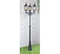 Уличный трехрожковый светильник на столбе NLG99HL005 черный