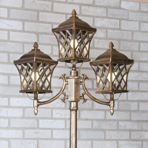 Cassiopeya F/3 черное золото уличный трехрожковый светильник на столбе IP44 Cassiopeya F/3 черное золото