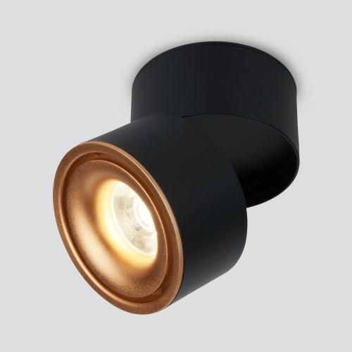 Накладной потолочный светодиодный светильник DLR031 15W 4200K 3100 черный матовый/золото